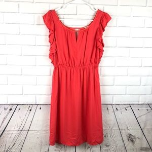 Fossil size small lined dress ruffle short sleeve